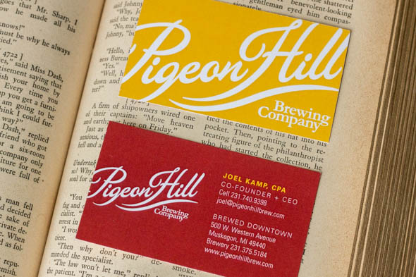 Pigeon hill brewing company business card design muskegon grand with the goal of expanding and distributing down the line they brought us on board to create their business cards you know we love working with breweries colourmoves
