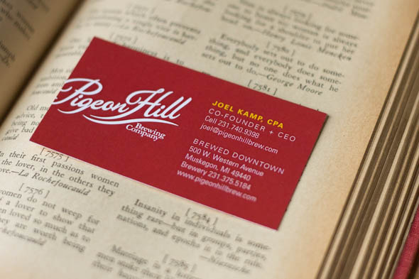 Pigeon hill brewing company business card design muskegon grand they brought us on board to create their business cards you know we love working with breweries as referenced here so we jumped at the opportunity colourmoves